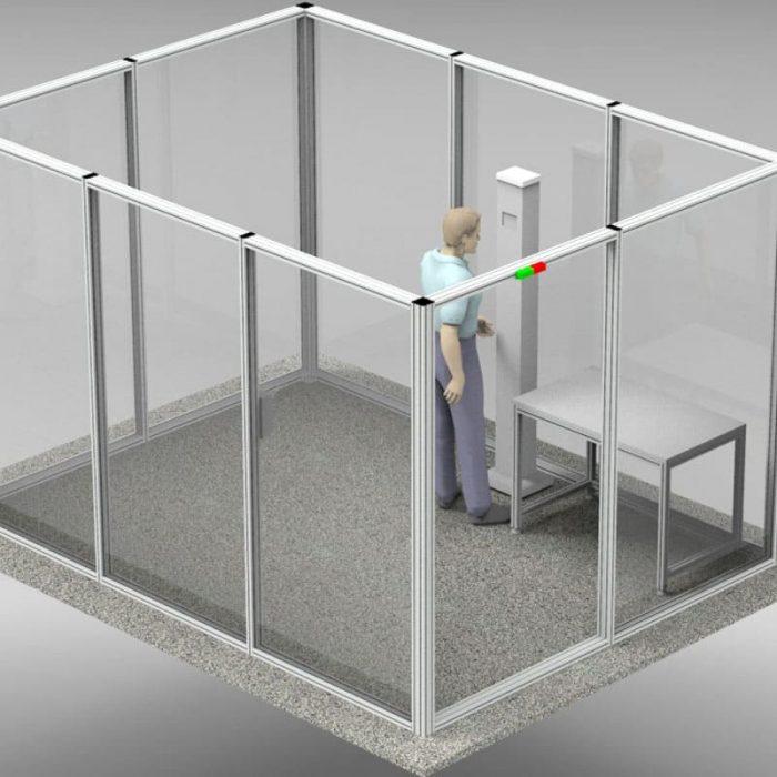 Sicherheits-System mit Temperaturkontrolle und Gesichtserkennung, Sicherheitsschleuse, ZS-Werbeflächen